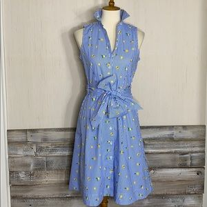 NWT J.CREW 4 Novelty Lemon Tie Waist Shirt Dress